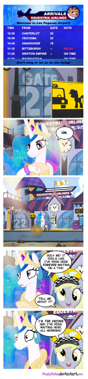 Based on a true story! by *PixelKitties Apparently Princess Celestia (and Cheerilee!) herself, Nicole Oliver, was stranded at Las Vegas airport on her way to Unicon yesterday!  Oh noes!   It was suggested I make her a comic concerning her alter-ego in a similar predicament.  So I did!  Because Ms. Oliver is amazing and has always been incredibly nice to me.  And also because sleep is for suckers!  Staying up all night making comics, however, is for not-suckers.  It is known.  Anyhoo, happy happy birthday to you, Ms. Oliver!  And to everyone else attending Las Pegasus Unicon, have the best time ever! UPDATE- Fixed the Tumbleweed blowing in one direction while the windsock indicates another.  I made that panel at 4 am, I'm allowed to be stupid at 4am.  I'm afraid I don't have any excuse for the other 23 hours.