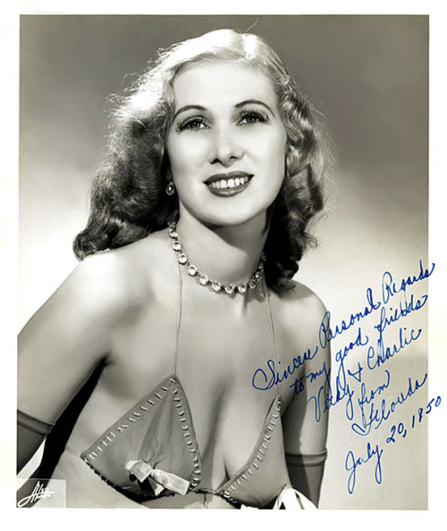 "Florida Fuller     (aka. Floride Fuller) Vintage promotional photo, personalized: ""Sincere Personal Regards to my good friends Vicky & Charlie  —  from Florida  —  July 20, 1950..""   Florida (sometimes spelled ""Floride"") was married to Burly-Q comic Bob Lee; who later became the Backstage Manager of Boston's famed 'Old Howard Theatre'.."