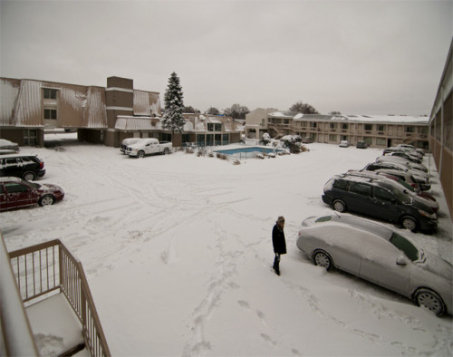 'Snow parking' -2012, Niagara Falls, Canada. After a very heavy snowfall. Moments later our rental car (bottom right) got stuck as I tried to reverse out.