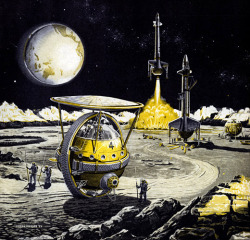 Small but interesting gallery of 1950s space art. Frank Tinsley's monochromatic illustrations and use of yellow highlights are especially worth checking out. (via Plan59 :: 1950s Space Art)