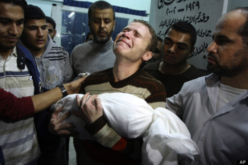 "UN report: Hamas killed BBC reporter's baby in Gaza — not the Israelis as was reported worldwide    Will the many, many mainstream media outlets that reported that Jihad Misharawi's son was killed by the Israelis run retractions and apologies? Don't hold your breath. ""UN Reports the Truth: Hamas Killed BBC Reporter's Baby in Gaza,"" by Chana Ya'ar for Israel National News, March 10 (thanks to The Religion of Peace): The United Nations has issued a report with unusual courage and accuracy that plainly tells the tale of Israel's Pillar of Defense counter terror operation – and exposes the lies of Hamas, told to a grieving father and his BBC bureau chief. In what has become typical of international media, The Washington Post and a BBC bureau chief last November accused and convicted the Israel Defense Forces in a heartrending, angry piece without verifying their information after a fellow editor in Gaza lost his baby son in rocket fire that struck his home.The front page photo of an Arab stringer for a world-class news network, clutching his dead baby son in his arms, tears running down his cheeks, became a powerful icon of the tragedy of the conflict. It was used by Hamas as propaganda to blacken Israel's name in the media and politically in the international arena as it fought to defend its southern population against Gaza's missile fire. But apparently very few questioned the source of the rocket fire – certainly not the grieving father, Jihad Misharawi, who at his son's funeral blamed ""the Jews"" – nor did BBC Middle East bureau chief Paul Danahar, who came to Gaza to support his colleague, or The Washington Post, which printed the story, written by Max Fisher and ""foreign staff"", with photos, published on the front page. Photos of the damaged home were duly posted, along with a photo of the little child, who is indeed beautiful, and the heartbreaking photo of a grieving father carrying what appears to be his dead son wrapped in shrouds. ""An Israeli round hit Misharawi's four-room home in Gaza Wednesday, killing his son, according to BBC Middle East bureau chief Paul Danahar, who arrived in Gaza earlier that Thursday,"" Fisher reported in his article along with the paper's ""foreign staff"" on November 15. ""Misharawi's sister-in-law was also killed, and his brother wounded. Misharawi told Danahar that, when the round landed, there was no fighting in his residential neighborhood. ""We're all one team in Gaza,"" Danahar told me,"" Fisher wrote, ""saying that Misharawi is a BBC video and photo editor. After spending a 'few hours' with his grieving colleague, he wrote on Twitter, 'Question asked here is: If Israel can kill a man riding on a moving motorbike (as they did last month), how did Jihad's son get killed."" Answer: Jihad's son was killed by Hamas, according to independent investigators from the United Nations. He was murdered by the journalist's own neighbors, the very men who purport to be his biggest protectors, who live in the surrounding buildings in the city where he lives. According to the advanced version of its report released by the U.N. Human Rights Council released late last week, ""On 14 November, a woman, her 11-month-old infant, and an 18-year-old adult in Al-Zaitoun were killed by what appeared to be a Palestinian rocket that fell short of Israel."" A footnote to the section says the case was personally investigated by the U.N. OHCHR, and that investigators believe the attack emanated from Hamas. The terrorist organization – as well as its allied terrorist groups, such as the Islamic Jihad – is well known for launching attacks against Israel from within residential areas in Gaza and maximizing the use of its human shields. The U.N. document reveals Gaza terrorists fired more than 1,500 rockets at Israel between November 14-21, 2012. For the first time, a number of the missiles reached Tel Aviv and Jerusalem. Six Israelis were killed, including four civilians, and 239 Israelis were wounded. Gaza terrorists readily admitted to aiming at civilian targets. ""While some projectiles were directed at military objectives, many, if not the vast majority of the Palestinian attacks on Israel constituted indiscriminate attacks,"" noted the report. ""Such attacks violate international humanitarian law"". ""Most rockets fired by the armed groups did not seem to be directed at a specific military objective. Furthermore many Palestinian armed groups directly and indirectly indicated their determination to – and took responsibility for – attacks on Israeli civilians or large population centers in Israel. Such acts clearly violate international humanitarian law, namely the principle of distinction… ""Another issue of serious concern during the crisis was allegations related to rocket attacks launched by Palestinian armed groups from populated areas in Gaza…some of these rockets may have been launched from underground tunnels….eyewitnesses informed OHCHR that on two occasions rockets were launched from an area south of Palestine Stadium in Gaza City, about 100 meters from a residential area…OHCHR received first-hand information indicating that rockets were fired from areas close to civilian buildings in the east of Gaza City… about 300 meters from several residential houses. ""Launching attacks from populated areas constitutes a violation of customary rules of international humanitarian law, i.e. the obligation to take all precautions to protect civilians. By having done so, the civilian population's exposure to the inherent dangers of the military operations taking place around them was greatly heightened. ""The real questions should be, 'Will The Washington Post print a retraction in the same location as its captivating erroneous front page article? An apology? A new photo? How will BBC bureau chief Paul Danahar respond to this U.N. report, and how to correct the erroneous reports he may have disseminated?,'"" Israeli veteran journalist and Middle East analyst Hana Levi Julian pointed out. ""Just a few years ago, a BBC bureau chief was kidnapped by a Gaza terrorist organization and held hostage for nearly five months, his life hanging in the balance. By a miracle, negotiators managed to free him and his life was spared,"" Julian noted. ""With terrorists breathing down this news organization's neck, scrutinizing the actions of each of its local reporters, can the BBC allow itself to report objectively in Gaza?""   Does the BBC ever allow itself to report objectively?"