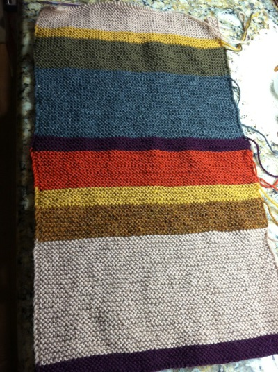b00kworm77:  Latest Tom Baker scarf. Colors are MUCH better than the first time, even greatly improved from my super long one. This will replace my current S12 scarf and the one I have right now is being sold as a commission. Hell yeah
