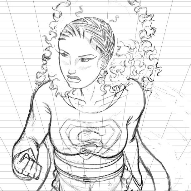 After countless redraws, I think I finally got it right… #supergirl #sketches #artofinstagram #art
