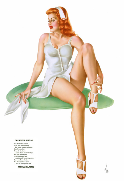"Alberto Vargas - ""Warning Signal"" - June 1945 Esquire Magazine Varga Girl Gatefold - Will be posting a lot less here going forward. If you would like to see all of my collections of Pin-ups, follow me on Facebook at..."