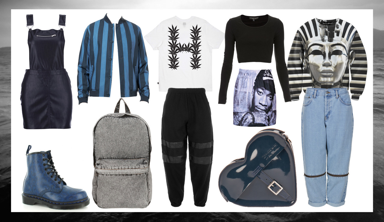 "Black and Blue - Mix of menswear and Womenswear   - Ok first of all I know I haven't posted in A MONTH. I have many excuses including I've been super busy with work and also I had this nasty throat infection thing that made me so tired all the time. I actually prepared this post a month ago before I was ill so I have completely forgotten where the denim bag is from.. So I'm sorry about that. BUT you can find similar ones from American Apparel, and I believe I saw one in Primark too but that was a little while ago. Ive also forgotten wear the Navy pinafore and the Jeans is from… Again im sorry *sigh* Also, I cant even remember why I was making a post on black and blue items… I think it had something to do with the crappy weather at the time. But its been sunny lately.. So this no longer makes sense but the items are still great so bleehh. Here is what I actually remembered: (Click the product description for a link to the site) Navy Croc print boots - Dr Marten  Mens Striped Bomber Jacket - Topman (They also do matching shorts!) 'H' weed top - HUF Black Joggers - Ragged Priest  Long Sleeve Crop - Topshop ""Rapper"" Skirt - Romwe  Heart Purse - designed by Agyness Deyn for Dr. Martens Silver Pharaoh Sweatshirt - Beloved Shirts"