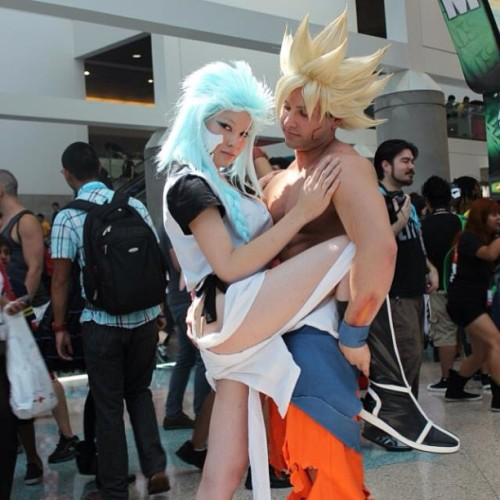Goku gets all the bitches. :p  Grimmjow is my lovely girlfriend @jojopandaface  SSJ Goku: @livingichigo  #livingichigo #pimp #boss #booty #sexy #goku #grimmjow #bleach #dbz #dragonball #dragonballz #awesome #anime #animeexpo #followme #like #cute #cosplay #master