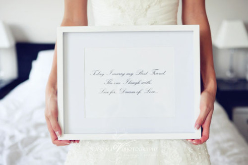 "enchanting-weddings:  ""Today I marry my Best Friend. the one I laugh with. Live for. Dream of. Love""Photos by Naomi V Photography"