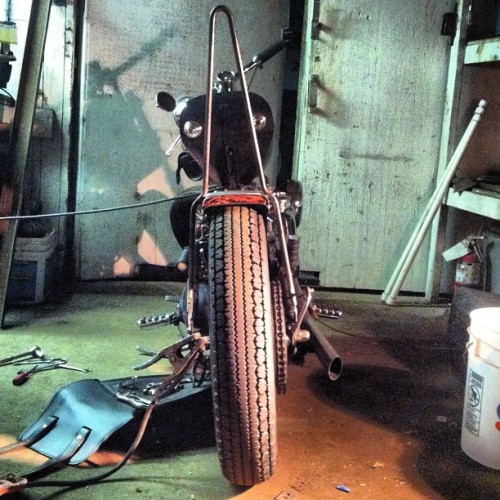 New sissy bar tacked into place. #ironhead #builtnotbought #fuckyourfactoryshit