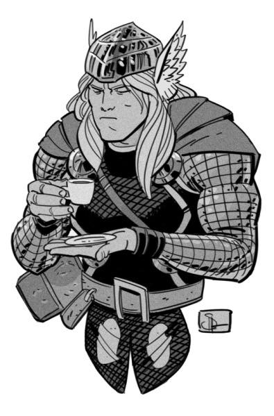 Thor tries a latte.