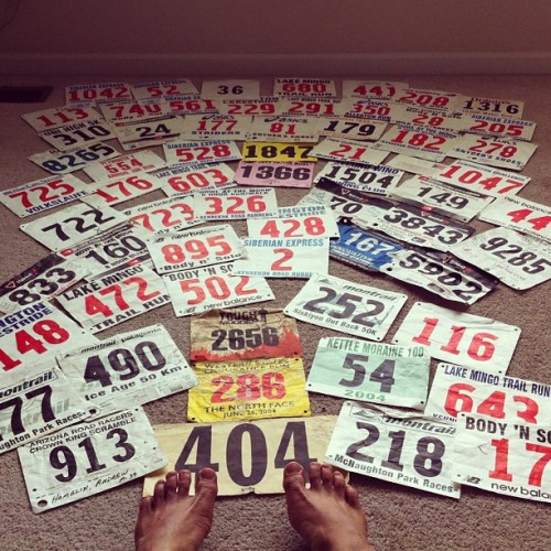 andyisbarefoot:  These feet have seen some miles. Started with #404 in 1979. And I lost a stack of bibs somewhere.
