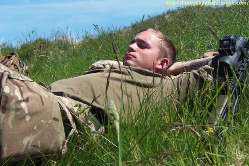 British army lad relaxing in the sun