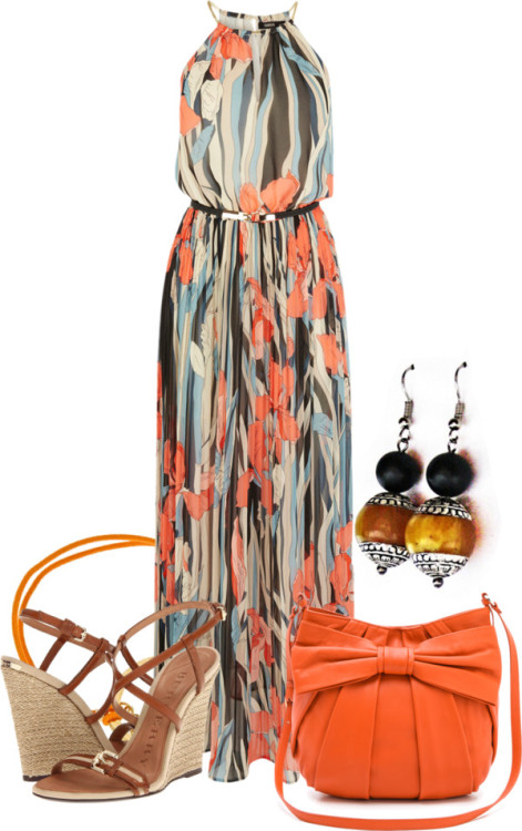 "One of the winners from ""Dress the Maxi"" Contest on Polyvore is using one of our Designs  Stainless steel earringsalangoo.com SHOP THE PIECE HERE"