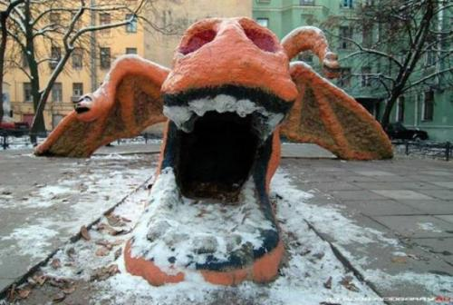 mentalflossr:  11 Terrifying Images of Old Soviet Playgrounds