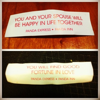 These are my most tecent fortunes. I think they're at least a week apart… #fortune  #cookie #spouse #love #happy #happiness #panda #express