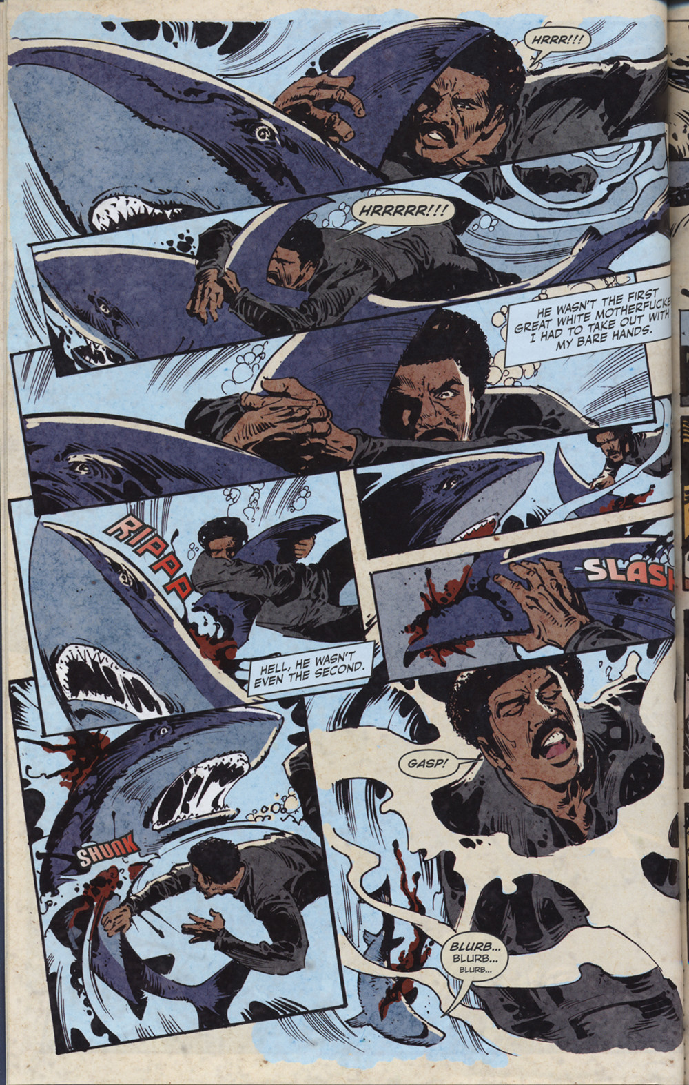 Happy Black History Month! Black Dynamite fights a shark in Black Dynamite: Escape from Slave Island (Ars Nova and Ape Entertainment, 2011), written by Brian Ash, art by Jun Lofamia and colors by J.M. Ringuet.