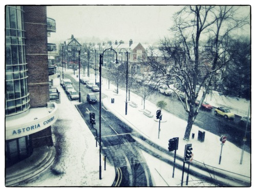#Snapseed enhanced view of the #Snow in #Purley earlier today.