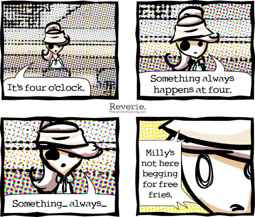 "Reverie comic | ""Milly Is Missing!"" a Heaven Sent Gaming comic by: Artist: Isabel ( http://cinnamonbell.tumblr.com/ ) Writer: Mario ( http://smile-lee.tumblr.com/ )"