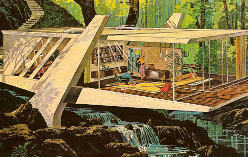 ayjay:   Motorola modernity, 1961, via Paleofuture   The future once featured some wild looking cabins, that's for sure.