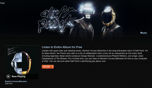 Stream to the entire new daft punk album for free on itunes. I love daft punk. Here's the link