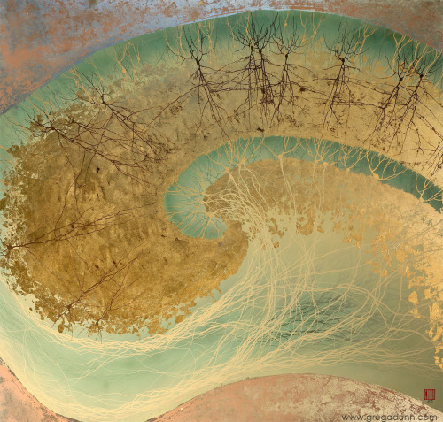 This painting shows the layered structure of the cerebral cortex, where processing of sensory and motor information occurs.  Enamel on composition gold leaf (2009) (High-resolution version)  Image: Greg Dunn Incredible images from Greg Dunn, a Ph.D. student in Neuroscience turned artist. Check out the website for more incredible art!