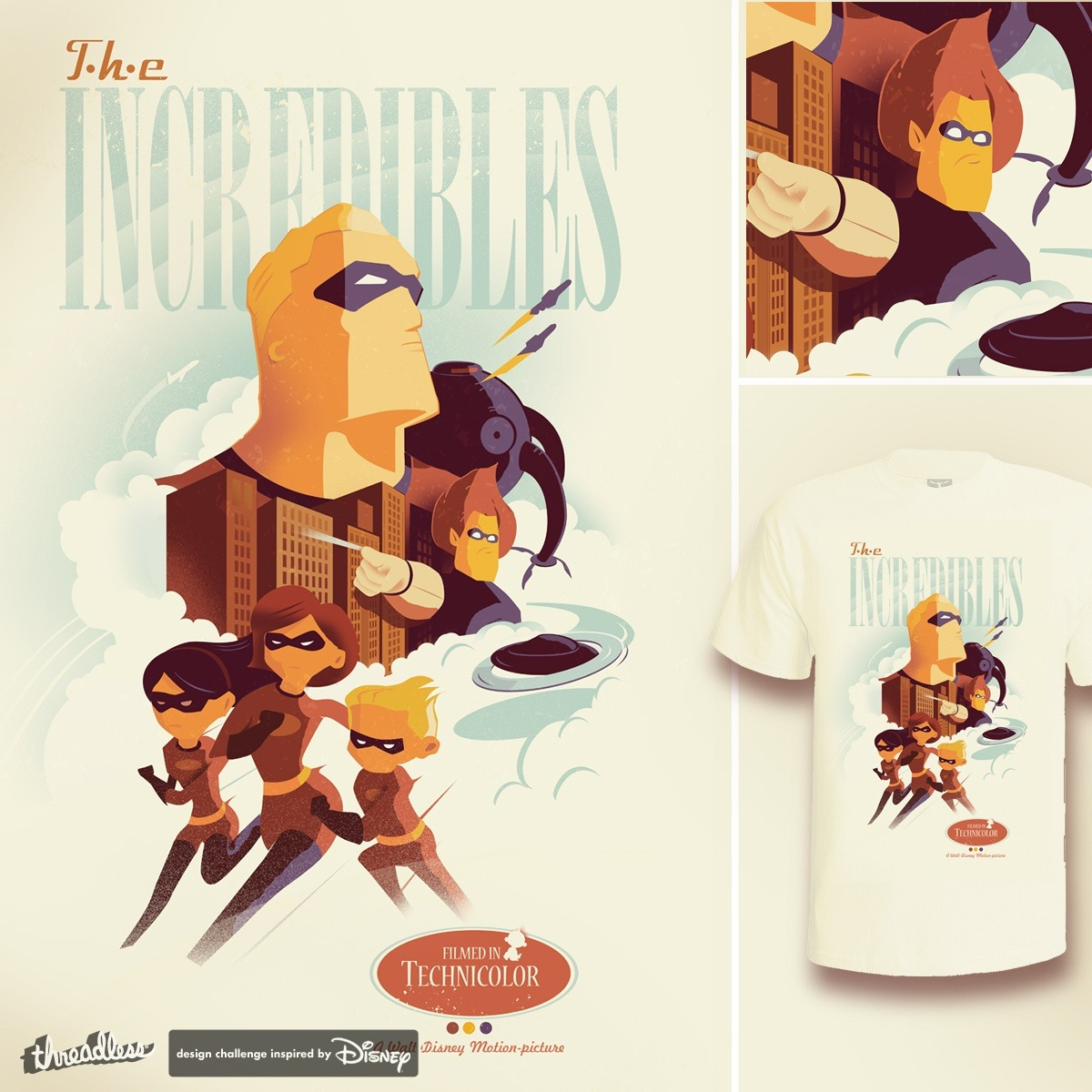 """INCREDIBLES TO THE RESCUE"" by teedotdraws is currently the highest scoring design in our Disney•Pixar's The Incredibles design challenge! Here's a little background about this submission from the artist: ""Wanted to capture the great sense of action in this movie…poster style!"" Score some designs from this challenge to help us decide which submissions to print!"