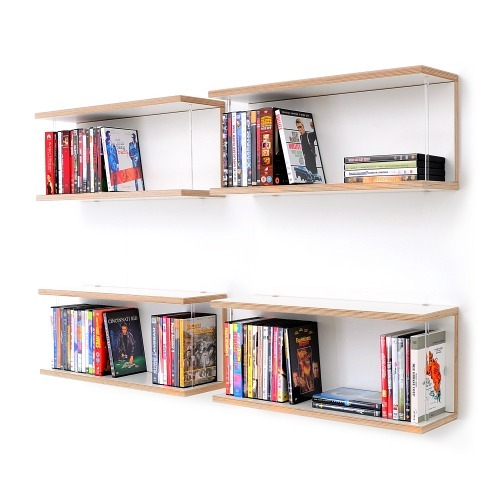 (via DVD Rack Shelving unit LIBRIT plywood white)