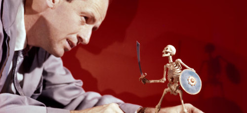 churchofsatannews:  A Master Passes: Ray Harryhausen (1920-2013) We mourn the passing of one of the true geniuses of fantastic cinema with the death of Ray Harryhausen. His brilliant achievements in stop-motion animation and visual effects brought to life creatures from history, mythology and imagination with an uncanny sense of detail which breathed vitality and character into them to fascinate and inspire viewers as well as many of the leading filmmakers of the present. His first solo effort, THE BEAST FROM 20,000 FATHOMS (1953), launched the international giant monster boom of the 1950s. His final film, CLASH OF THE TITANS (1981), had a cast full of stars and featured one of his most atmospheric scenes in the realization of the Gorgon, Medusa. In between are many excursions into worlds of wonder that will surely stand as testaments to this great artist so long as cinema lasts.  Click on the image to visit his official web site, and if you have not seen his work, you are in for an abundance of pleasure. Start with JASON AND THE ARGONAUTS (1963), with the iconic bronze giant Talos as well as the skeleton army which rises from the teeth of the slain Hydra, and then go on from there. You will be entranced! Hail Harryhausen! —Magus Peter H. Gilmore