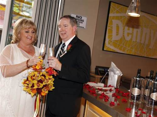 Honeymoons Over My Hammy! Weddings at Denny's (Photo: Isaac Brekken / AP) Can't decide which you love more — your honey or maple syrup? If you're in Las Vegas, you're in luck. Behind its bright-yellow, abstract facade, the Denny's restaurant in the Neonopolis district on Fremont Street (a short drive from the Strip) that opened last November is now accepting bookings for its in-house wedding chapel.   Read the complete story.