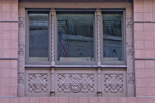 Facade, Chicago, Illinoisby Terence Faircloth Elegant window treatment. From Flickr:  Art deco terra cotta ornamentation surrounding windows on a building at LaSalle and Washington in Chicago, Illinois.