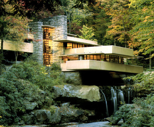 cavetocanvas:  Frank Lloyd Wright, Fallingwater, 1935. Located in Mill Run, Pennsylvania. Things to think about when studying: This is an example of what architectural style? Name at least 2 other buildings that Wright designed that use the same style. What is the architectural term for the porches that extend out and away from the main structure?
