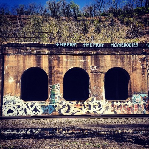 #pittsburgh #graffiti #bridge #urban #decay  (at Three Rivers Heritage Trail - Millvale segment)
