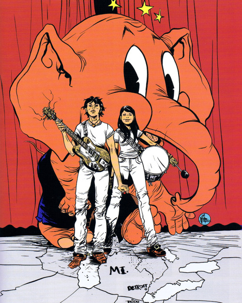 destroycomics:  The White Stripes by Paul Pope Day four of Paul Pope in Music Week.