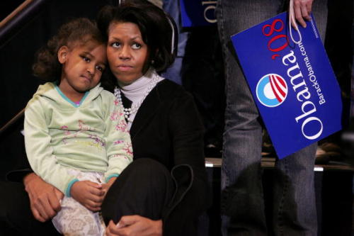 Michelle & Sasha the first week of Obama's presidential run in 2007. Let's have a collective AWWWWWW Photo Credit: Getty Images