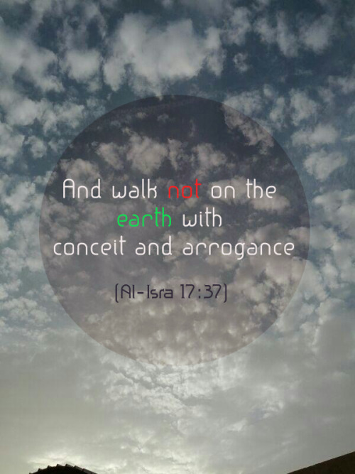 islamic-quotes:  And walk not on the earth with conceit and arrogance  [Al-Isra' 17:37] Website | Facebook | Twitter
