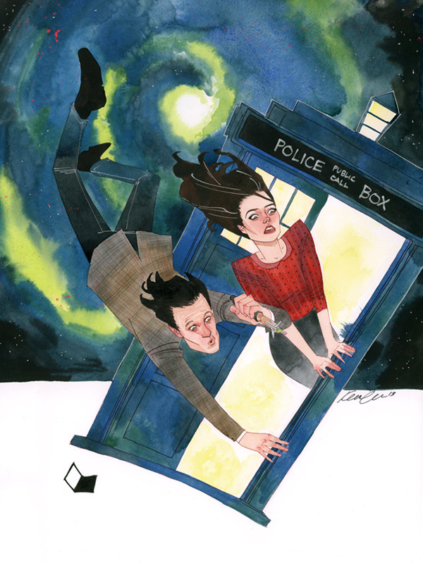 "Illustration by Kevin Wada:  ""Doctor Who So proud to finally get to unleash this piece on my blog.  It was a long time in the making, and the client who commissioned it was beyond patient.  When I get a commission that intimidates me, it takes awhile for the creative juices to start flowing and for my confidence to get up.  After all was said and done, though, I'm really happy with how this piece turned out.  The client wanted the tardis and the vortex with the good doctor flying through it.  I was originally going to include Ms. Amy but by the time I got around to the commission she was gone and Clara was introduced.  (Yea, I know, that's how long it took me to get to this piece.)  Luckily, the client loved it and I'm so happy for that.  Let me know what you think!"""