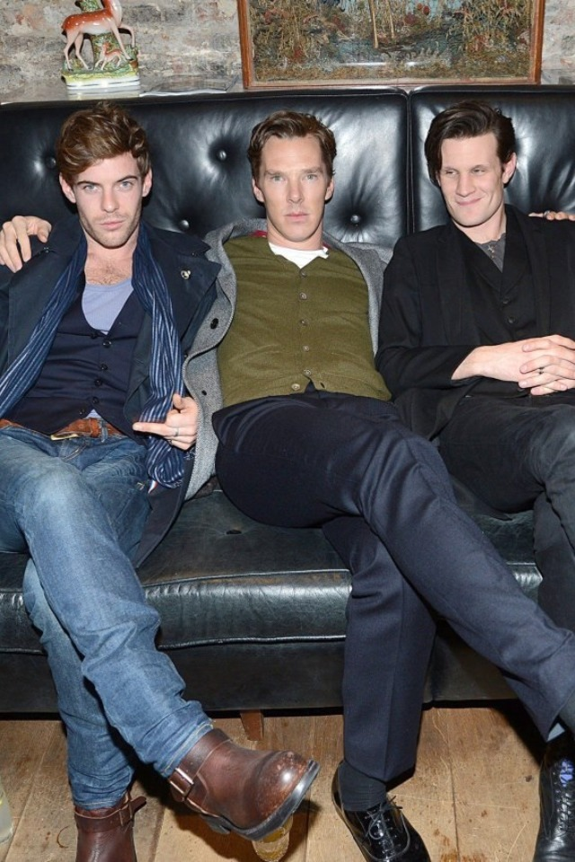 0nlyknowwho:  *faints*  This picture still makes me laugh. It's like Cumberbatch and his boy-toys having a nice evening out, and later on they're going to go and play out some slightly sado-masochistic scene where his good boy shall be rewarded and his naughty boy chastised accordingly. And then they done sex, the end.