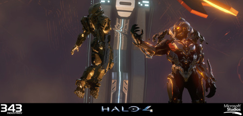 Screencap from an ingame cinematic from Halo 4, of the game's villain: The Didact. Didact's Model, Textures & Materials by Kolby Jukes | Concept by Gabriel Garza & Kenneth Scott | Shaders by Howard Coulby