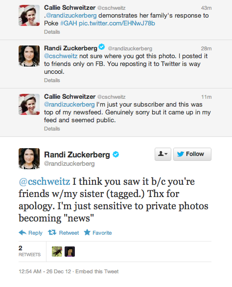 digg:  Let's talk about Facebook privacy…  Reminder: Randi Zuckerberg is a huge advocate of privacy.