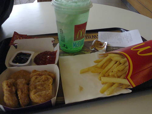 McNuggets, Green Apple McFloat, and Large Fries for lunch earlier.