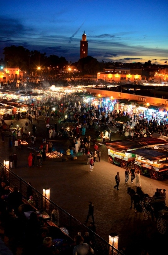 | ♕ |  Bazaar at dusk - Marrakech, Morocco  | by © Audrey