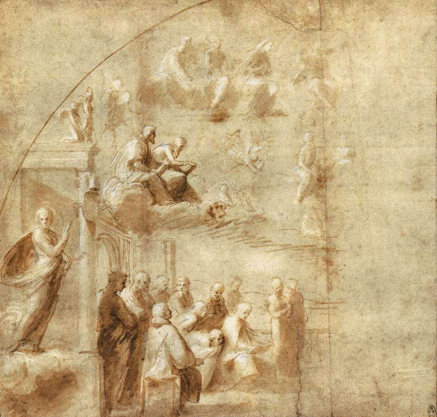 Design for the left half of Disputa (1501-11) by Raphael