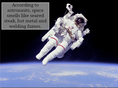 "mucholderthen:  via How does space smell? Astronauts who have gone on spacewalks describe the smell of space as an ""acrid aroma of seared steak, hot metal and welding fumes"". They can't smell it while they're out there as space suits are (obviously) airtight. But when they return and take off their helmets, this is the odor that greets them.  NASA has actually recreated the aroma for training purposes, and Steven Pearce, a chemist involved in the process has suggested that the metallic aspect of the scent may come from high-energy vibrations of ions.  whoa now man"