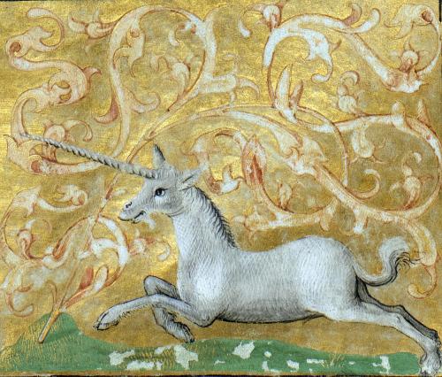 discardingimages:galloping unicorn Brunetto Latini, Li Livres dou Trésor, Rouen ca. 1450-1480 Bibliothèque de Genève, Ms. fr. 160, fol. 82r #unicorns