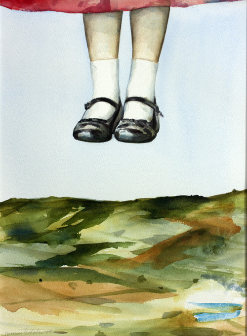 red-lipstick:  Thomas Edetun (b. 1962, Sweden) - Levitation, 2009                                  Paintings: Watercolors on Paper