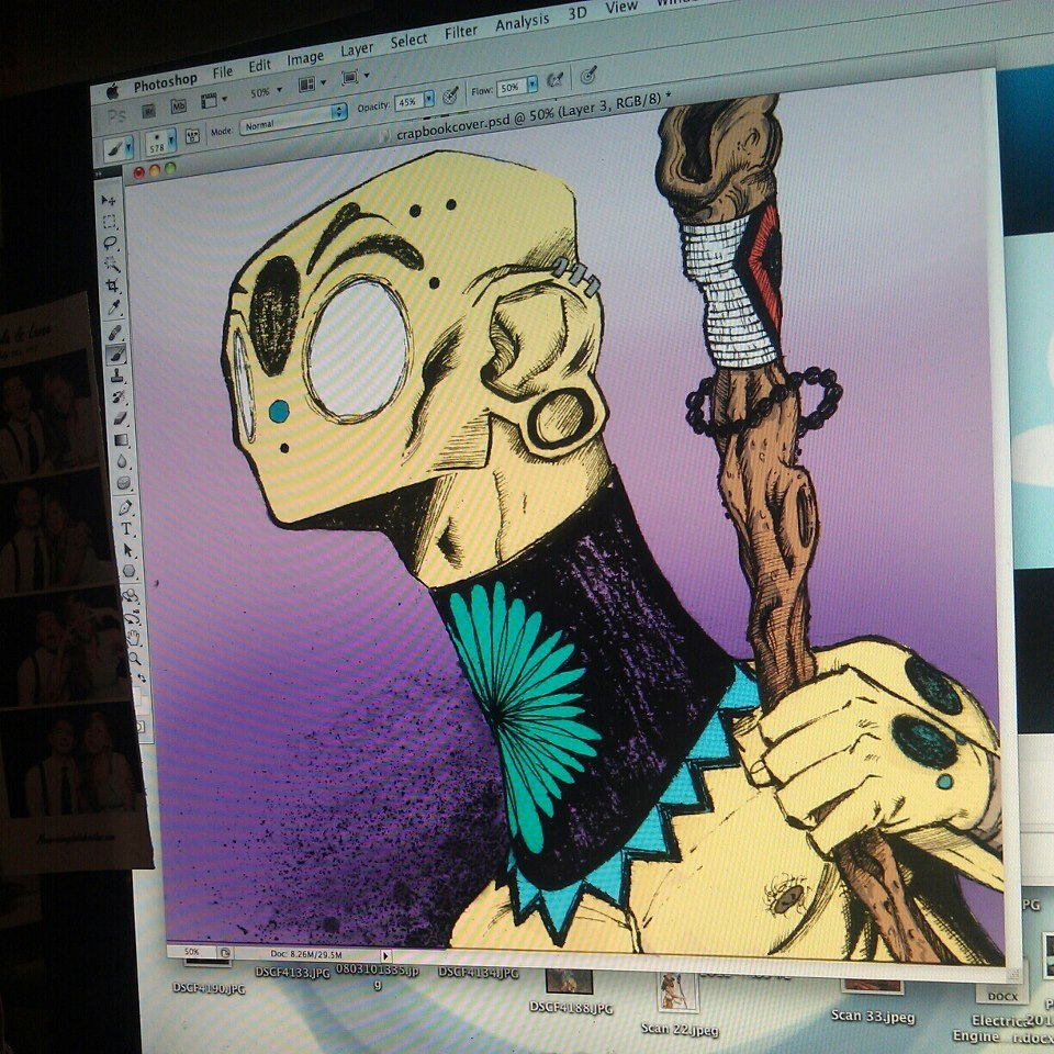 more progress on a cover for my  little sketchbook zine, coming in 2013!!!
