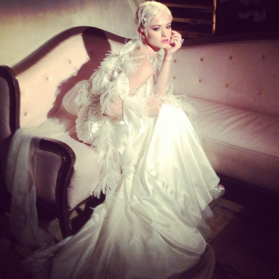 A behind the scenes shot of my campaign for Amy Michelson Bridal Gowns.  (taken with an iphone)