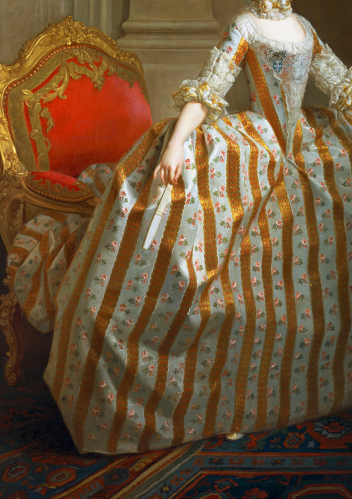 jaded-mandarin:  Portrait of Maria Luisa of Parma (1751–1819), Later Queen of Spain, 1765. Detail.