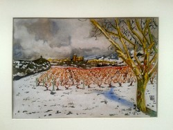 Snowy vineyard at Samaniego, Spain. Watercolour on Kraft paper. Din A4