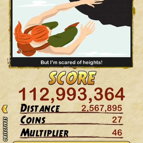 Nag hang. Yan naging distance at score ko. Bwahahahaha #templerun2