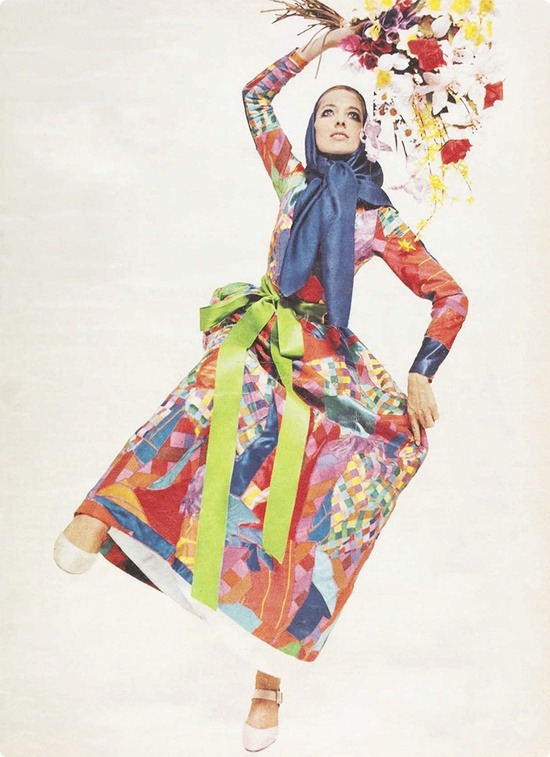 theswinginsixties:  Model wearing a patchwork dress by Yves Saint Laurent, 1960s.